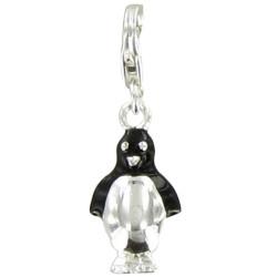 Charms Argent Pingouin Argent et Noir