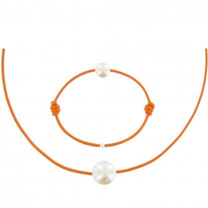 Set Collier et Bracelet Lien La Perle Blanche des Poulettes - Colors