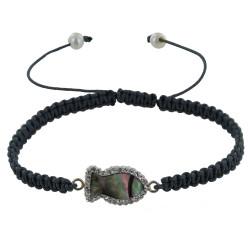 Bracelet Poisson de Nacre et Strass Lien Tréssé Gris