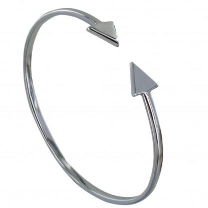 A VE Bracelet Argent Rhodié Jonc Double Flèche