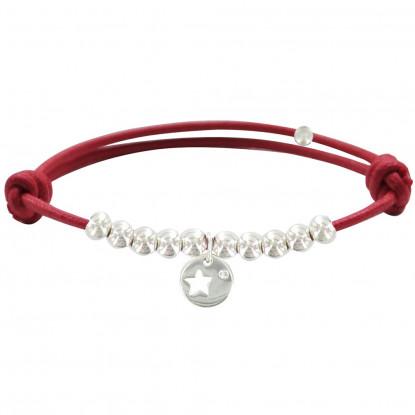 Bracelet Lien Médaille Etoile et Perles en Argent - Lien Rouge