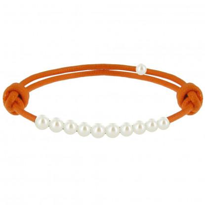 Bracelet Lien Numéro 10 Perle Blanche des Poulettes - Lien Orange