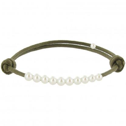 Bracelet Lien Numéro 10 Perle Blanche des Poulettes - Lien Kaki