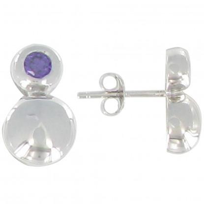 Boucles d'Oreilles Argent Deux Perles Zirconium Lilas