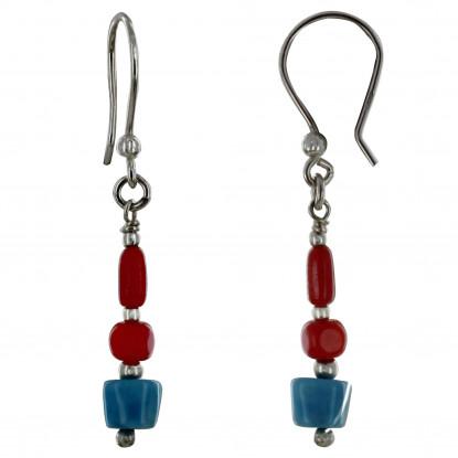 Boucles d'Oreilles Argent Perles de Bambou Rouge et Pépite de Larimar