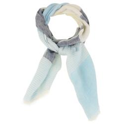 Echarpe 100% Lin Bleu Rayures Bleutées