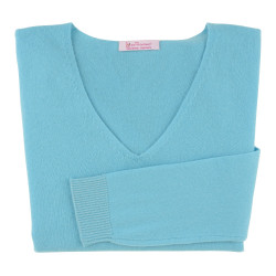 Pull Femme 100% Cachemire Oversize Turquoise