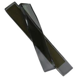 Broche Laiton Deux Lamelles Simple et Courbe Pâte de Verre Noir