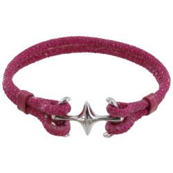 Bracelet Mixte en Argent Rhodié Double Ancre et Galuchat - 18cm Colors