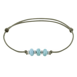 Bracelet Lien Synthétique 3 Rondelles de Larimar et Argent