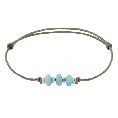 Bracelet Lien de Coton 3 Rondelles de Larimar et Argent