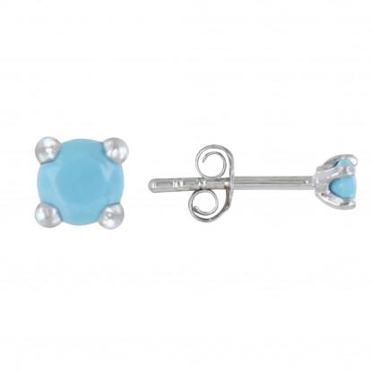 Boucles d'Oreilles Argent Rhodié Clous Perle Turquoise