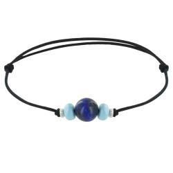 Bracelet Lien Synthétique Perle de Lapis Lazuli Deux Anneaux de Larimar et d'Argent