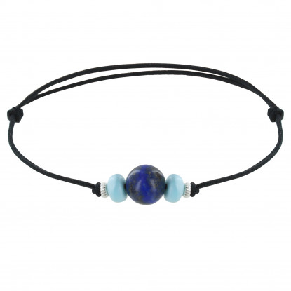 Bracelet Lien de Coton Perle de Lapis Lazuli Deux Anneaus de Larimar et d'Argent