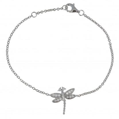 Bracelet Argent Rhodié Libellule et Strass