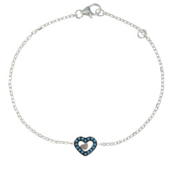 Bracelet Argent Rhodié Coeur et Points Bleus
