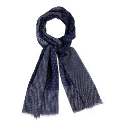 Echarpe  100% Lin Bleu Et Pois Bleu - Bordure Plumetis Blancs