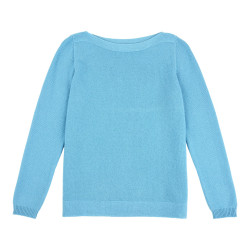 Pull Col Bateau 100% Cachemire 2 Fils - Turquoise