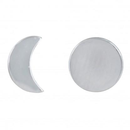 Boucles d'Oreilles Argent Rhodié Lune et Croissant de Lune