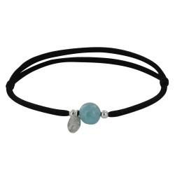 Bracelet Lien Noir Une Perle de Larimar et Deux Perles Argent