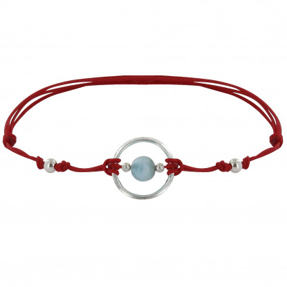 Bracelet Lien Cercle Argent et Une Perle de Larimar