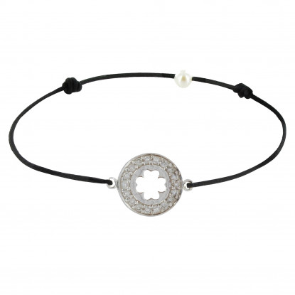 Bracelet Lien Argent Médaille Porte Chance et Strass