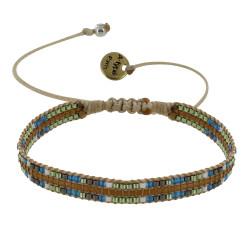 Bracelet Yukis Perles et Lien Tréssé Beige