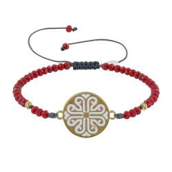 Bracelet Lien Gris Médaille Grecque Laiton Doré Émaillée Blanche et Perles Cristal