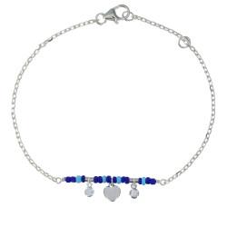 Bracelet Argent Rhodié Petit Coeur Deux Strass et Perles Bleus