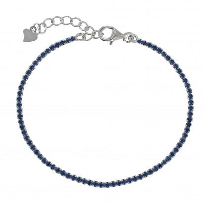 Bracelet Argent Rhodié Petits Carrés de Strass