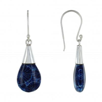 Boucles d'Oreilles Argent Petite Goutte Bombée Coquillage Teinté Bleu