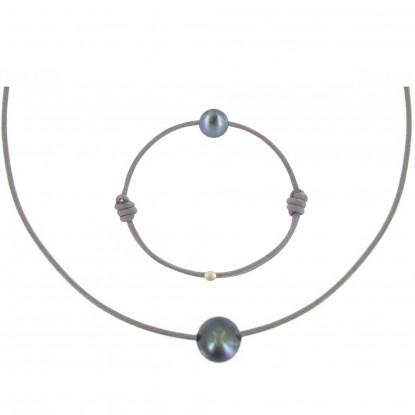 Set Collier et Bracelet Lien La Perle Noire des Poulettes - Classics
