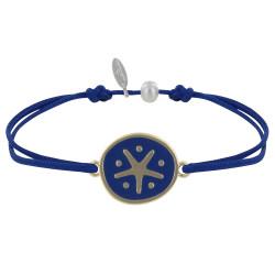 Bracelet Lien Médaille en Laiton Etoile Émaillée Bleue