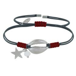 Bracelet Lien Bicolore Coquillage et Etoile Laiton Argenté Perle Facettée Blanche
