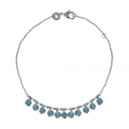 Bracelet Argent Rhodié Breloques Turquoise