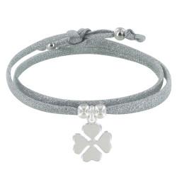 Bracelet Double Tour Lien Lurex et Trèfle Argent