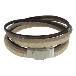 Bracelet Cuir Trois Matières Fermoir Acier Inoxydable - Classics