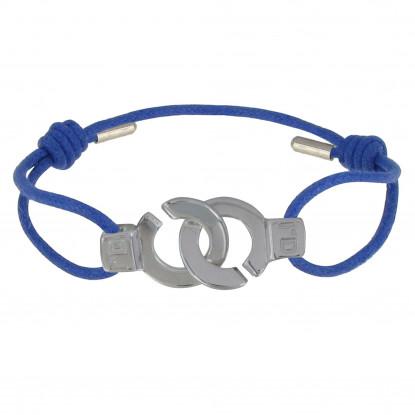 PHOTO A VE Bracelet Argent Menottes Lien Bleu