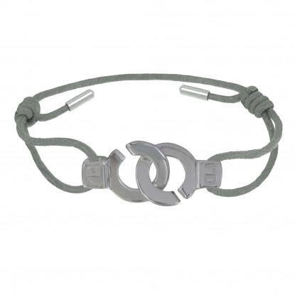PHOTO A VE Bracelet Argent Menottes Lien Gris Clair