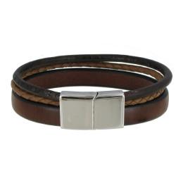 Bracelet Homme Cuir Trois Lanières Fermoir Acier Inoxydable - Classics