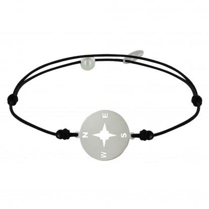 Bracelet Lien Médaille Ronde Rose des Vents Laiton Argenté