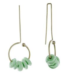 Boucles d'Oreilles Grand Crochet Laiton Anneau et Petits Disques de Verre - Classics