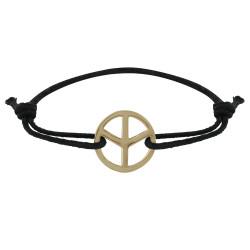 Bracelet Plaqué Or Signe Peace and Love Lien Noir