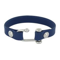 Bracelet Plaqué Argent Manille Ouverte et Cuir Bleu Marine