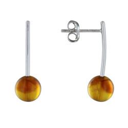 Boucles d'Oreilles en Argent avec une Perle d'Ambre.