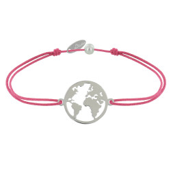 Bracelet Lien Médaille Argent Ronde Mappemonde