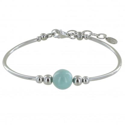 Bracelet Tubes Argent Une Perle de Larimar