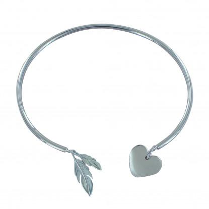 Bracelet Argent Rhodié Demi Jonc Deux Plumes et Un Coeur