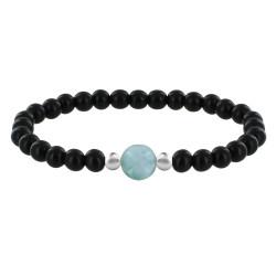 Bracelet Femme Perles d'Ebènes Une Perle de Larimar et Deux Perles Argent