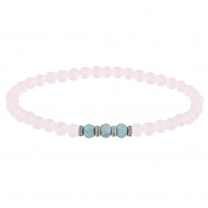 Bracelet Femme Perles Quartz Rose Trois Anneaux de Larimar et Quatres Anneaux Zébré Argent